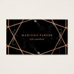 "Modern Faux Rose Gold Geometric on Black Marble Business Card<br><div class=""desc"">This stylish business card features a black marble look background with a faux rose gold geometric design. Personalize with your information on both the front and the back.</div>"