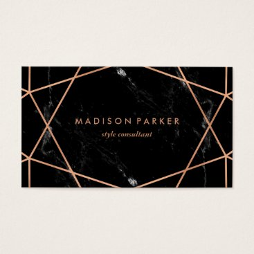 christine592 Modern Faux Rose Gold Geometric on Black Marble Business Card