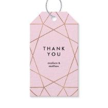 Modern Faux Rose Gold Geometric on Blush Pink Gift Tags