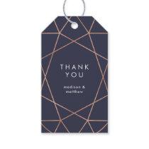 Modern Faux Rose Gold Geometric on Dark Blue Gift Tags