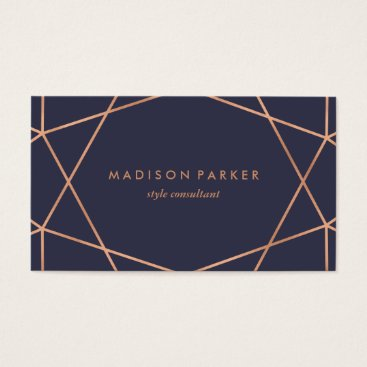 christine592 Modern Faux Rose Gold Geometric on Midnight Blue Business Card