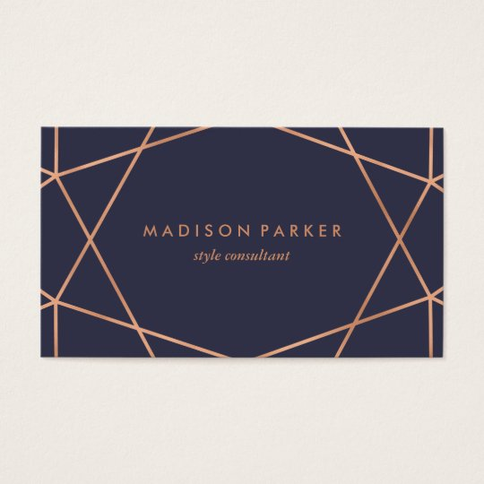 Modern Faux Rose Gold Geometric on Midnight Blue Business Card | Zazzle