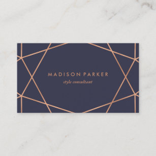Pink business cards zazzle modern faux rose gold geometric on midnight blue business card reheart Images