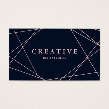 Professional Business Modern Faux Rose Gold Geometric on Navy Blue Business Card
