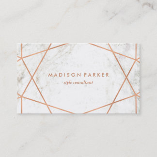 Modern Faux Rose Gold Geometric on White Marble Business Card