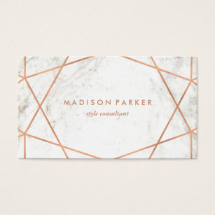 White business cards templates zazzle modern faux rose gold geometric on white marble business card colourmoves