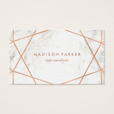 christine592 Modern Faux Rose Gold Geometric on White Marble Business Card