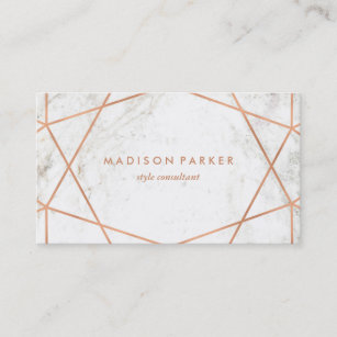 White and gold business cards zazzle modern faux rose gold geometric on white marble business card colourmoves