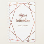 "Modern Faux Rose Gold Geometric on White Planner<br><div class=""desc"">This elegant and trendy planner features your name in modern script typography and a geometric faux rose gold design on a white background.</div>"