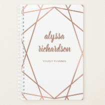 Modern Faux Rose Gold Geometric on White Planner