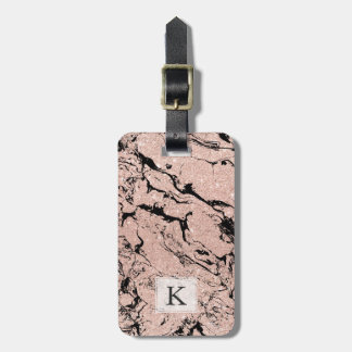 Modern faux rose gold glitter black marble bag tag
