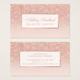 Modern business cards templates zazzle modern faux rose gold glitter blush ombre makeup business card colourmoves