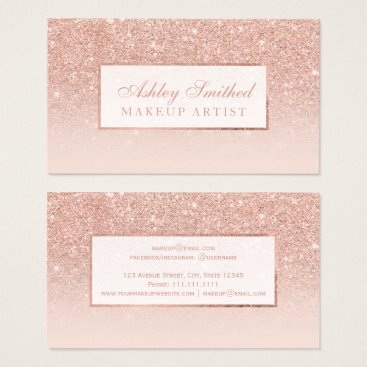 girly_trend Modern faux rose gold glitter blush ombre makeup business card