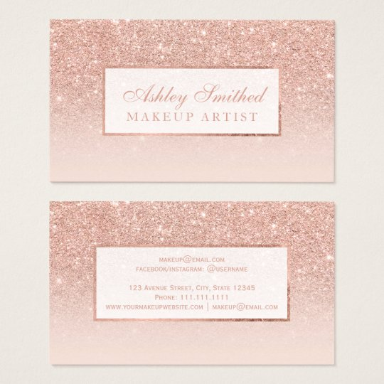 Rose gold business cards templates zazzle modern faux rose gold glitter blush ombre makeup business card stopboris Image collections