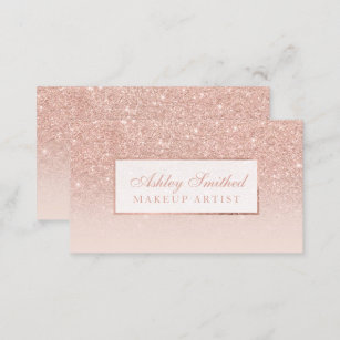 Pink business cards zazzle modern faux rose gold glitter blush ombre makeup business card reheart Images
