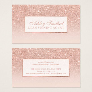 Modern faux rose gold glitter blush ombre notary business card