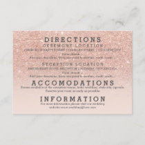 Modern faux rose gold glitter details wedding enclosure card