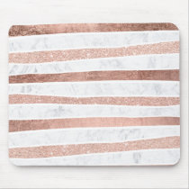 Modern faux rose gold glitter foil marble stripes mouse pad