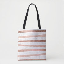 Modern faux rose gold glitter foil marble stripes tote bag