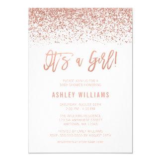 Modern Faux Rose Gold Glitter Girl Baby Shower Card