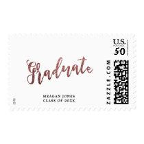Modern faux rose gold glitter graduate postage