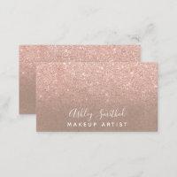 Modern faux rose gold glitter kraft makeup business card