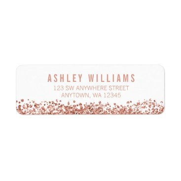 Toddler & Baby themed Modern Faux Rose Gold Glitter Label