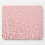 """Modern faux rose gold glitter leopard ombre pink mouse pad<br><div class=""""desc"""">A modern,  chic and trendy hand drawn leopard print pattern in faux rose gold foil glitter ombre on a pastel pink background</div>"""