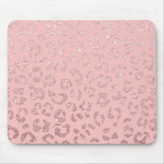Modern faux rose gold glitter leopard ombre pink mouse pad