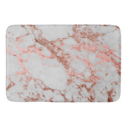 Modern faux rose gold glitter marble texture image bathroom mat