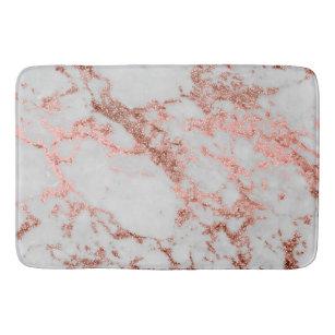 Modern Faux Rose Gold Glitter Marble Texture Image Bathroom Mat