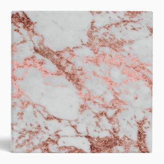 Modern faux rose gold glitter marble texture image binder