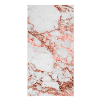 Modern faux rose gold glitter marble texture image card