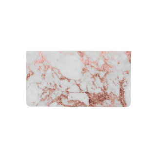 Modern faux rose gold glitter marble texture image checkbook cover