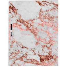 Modern Faux Rose Gold Glitter Marble Texture Image Dry-erase Board at Zazzle