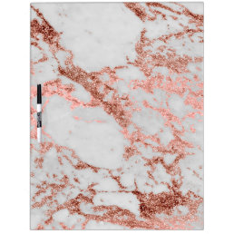 Modern faux rose gold glitter marble texture image Dry-Erase board