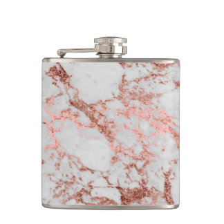 Modern faux rose gold glitter marble texture image flask