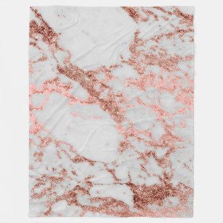 Modern faux rose gold glitter marble texture image fleece blanket
