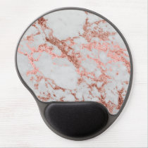 Modern faux rose gold glitter marble texture image gel mouse pad