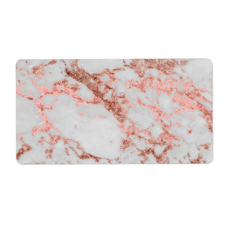 Modern faux rose gold glitter marble texture image label