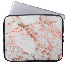 Modern Faux Rose Gold Glitter Marble Texture Image Laptop Sleeve at Zazzle