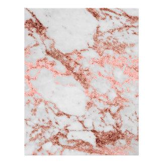 Modern faux rose gold glitter marble texture image letterhead