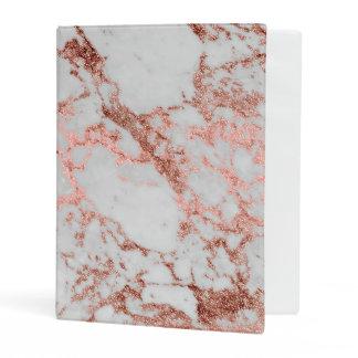 Modern faux rose gold glitter marble texture image mini binder