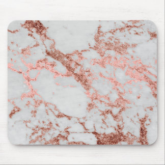 Modern faux rose gold glitter marble texture image mouse pad