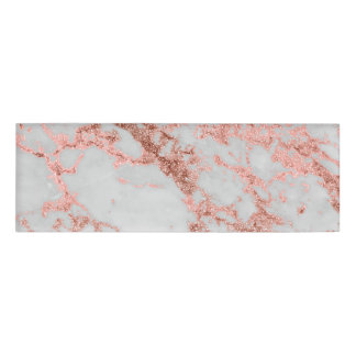 Modern faux rose gold glitter marble texture image name tag