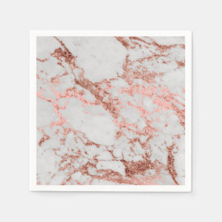 Modern faux rose gold glitter marble texture image napkin