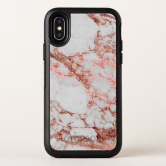 Modern faux rose gold glitter marble texture image OtterBox symmetry iPhone x case