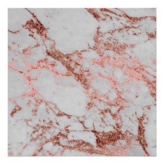 Modern faux rose gold glitter marble texture image poster