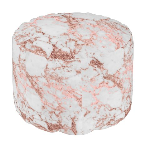 Modern faux rose gold glitter marble texture image pouf