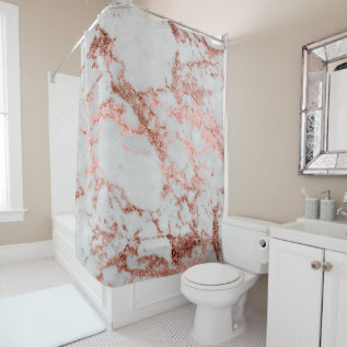 Modern Faux Rose Gold Glitter Marble Texture Image Shower Curtain at Zazzle